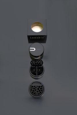 Purist black Linsen-box-Bix Ansichten mit Verpackung. Schwarze Versuchung ist anziehend-hygienisch-funktionell ein Drogerieartikel der Superklasse für Linsen-und Brillenträger.