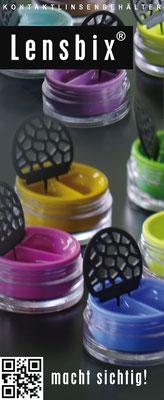 www.lensbix.de / Markenartikel Lensbix / Kontaktlinsenbehälter / Kontaktlinsenbox / Behälter für Kontaktlinsenpflege  / Farbkollektion / Made in Germany / Colorinspiration