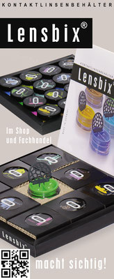 Markenartikel Lensbix / Kontaktlinsenbehälter / Kontaktlinsenbox / Box für Kontaktlinsenaufbewahrung  / Farbkollektion  / Made in Germany / Lensbix-Display im Fachhandel