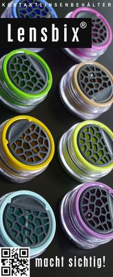 Markenartikel Lensbix / Kontaktlinsenbehälter / Kontaktlinsenbox / Behälter für Kontaktlinsenreinigung  / Farbkollektion  / Made in Germany / Futuristischer Kontaktlinsenbehälter