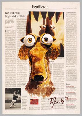 Nüsse - Sammler aus Ice Age, 2015, 40 x 55, Gouache und Tempera auf Zeitungspapier