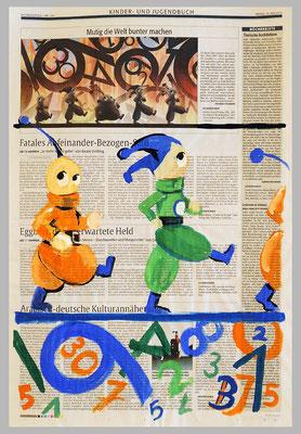Kinderbuchfiguren, 2015 , 39 x 51 ,Gouache und Tempera auf Zeitungspapier