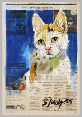 Katze aus dem Tierheim sucht neuen Menschen, 2015 , 39 x 51 ,Gouache und Tempera auf Zeitungspapier