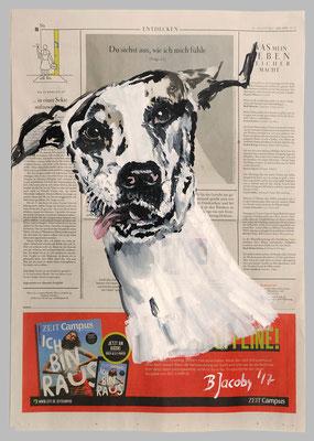 Dogge, ..wie Ich mich fühl, 2017,  40 X 55, Gouache und Tempera auf Zeitungspapier