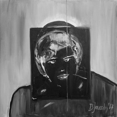 Ich vor ihm, Öl auf Leinwand , 100 cm x 100cm, 2017