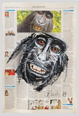 Affe, Recht am Selfie? 2018,  35 X 51, Gouache und Tempera auf Zeitungspapier