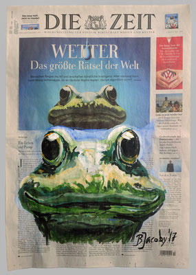 WetterFrosch, 2017, 40 X 55 , Gouache und Tempera auf Zeitungspapier