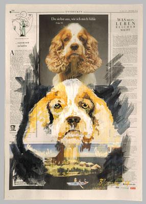 Cocker Spaniel, 2017,  40 X 55, Gouache und Tempera auf Zeitungspapier