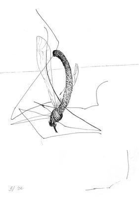 Schneider, gedreht und Bein verloren, Fineliner auf Papier
