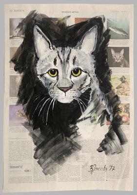 Wildkatze,  2017,  40 X 55, Gouache und Tempera auf Zeitungspapier