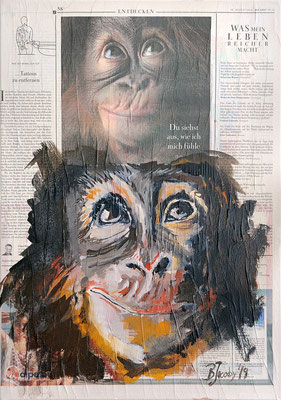 Schimpanse ,  2019 , 35 X 51 , Mischtechnik auf Leinwand