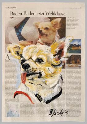 Hund, Baden Baden , 2015 , 40 X 55 , Gouache und Tempera auf Zeitungspapier