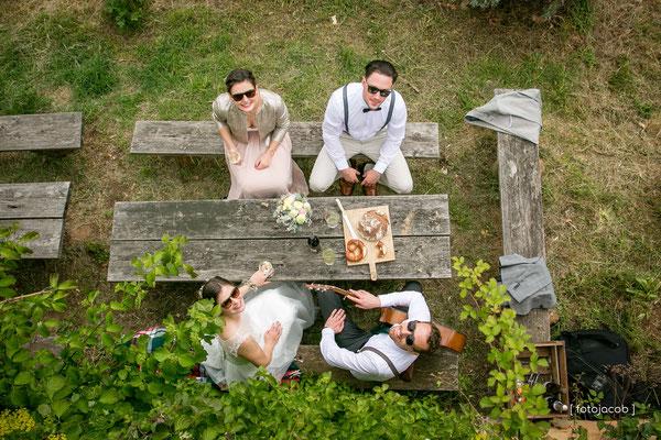picknick der prautleute von oben