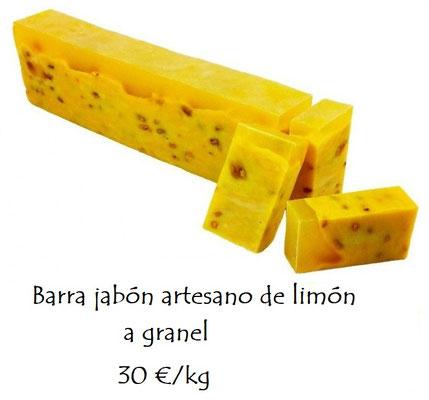 Barra jabón artesano a granel de limón