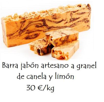 Barra jabón artesano a granel de canela y naranja