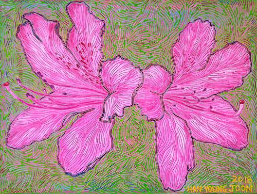 Azaleen, 40 x 30 cm,  Acryl auf Leinwand (Kkeul Malerei)----------- 철쭉, 40 x 30 cm, 캔버스에 아크릴(끌 말러라이)