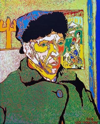 Frei nach Van Gogh- Selbstbildnis, 40 x 50 cm,  Acryl auf Leinwand (Kkeul Malerei)----------- 고흐의 자화상 , 40 x 50 cm, 캔버스에 아크릴(끌 말러라이)
