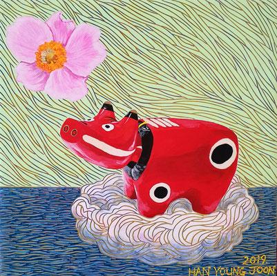 Akabeko mit Anemone, 30 x 30 cm, Acryl auf Holz Malplatte (Kkeul Malerei)---------------------- 아카베코와 아네모네, 30 x 30 cm, 나무판넬에 아크릴(끌 말러라이)