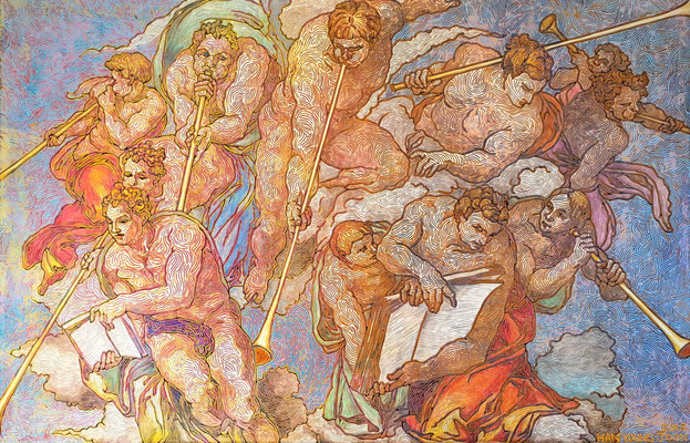 Frei nach Michelangelos Jüngsten Gericht, 120 x 80 cm,  Acryl auf Leinwand (Kkeul Malerei)----------- 미켈란젤로의 최후의 심판중에서, 120 x 80 cm, 캔버스에 아크릴(끌 말러라이)