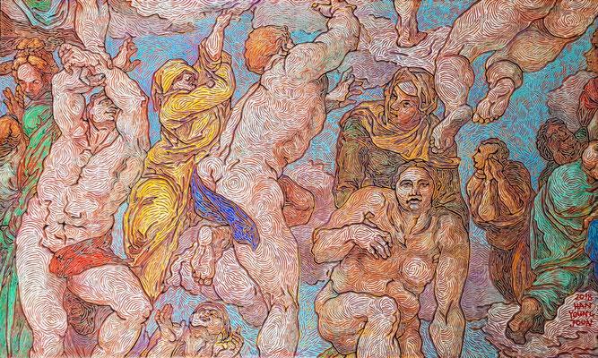 Frei nach Michelangelos Jüngsten Gericht, 100 x 60 cm,  Acryl auf Leinwand (Kkeul Malerei)----------- 미켈란젤로의 최후의 심판중에서, 100 x 60 cm, 캔버스에 아크릴(끌 말러라이)