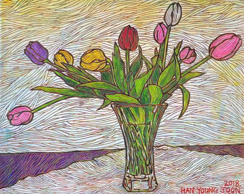 Tupen in Glasvase, 50 x 40 cm,  Acryl auf Leinwand (Kkeul Malerei)----------- 유리병에 튤립, 50 x 40 cm, 캔버스에 아크릴(끌 말러라이)