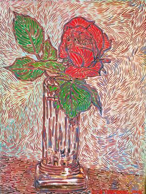 Rote Rose in Vase, 30 x 40 cm,  Acryl auf Holz Malplatte (Kkeul Malerei)----------- 꽃병에 빨간장미, 30 x 40 cm, 나무판넬에 아크릴(끌 말러라이)