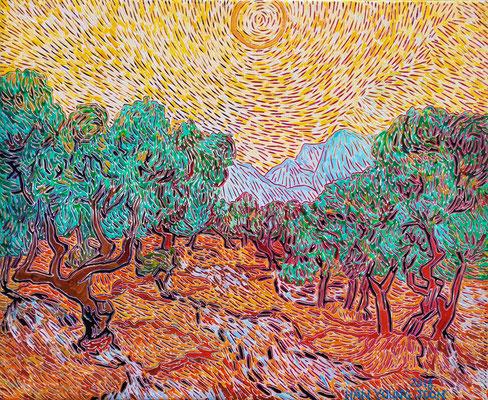 Frei nach Van Gogh- Olivenbäume mit gelbem Himmel und Sonne, 50 x 40 cm,  Acryl auf Leinwand (Kkeul Malerei)----------- 고흐의 풍경화/올리브 나무들과 노란 하늘과 태양  , 50 x 40 cm, 캔버스에 아크릴(끌 말러라이)