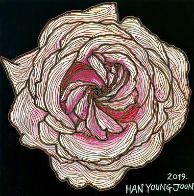 Rosa Rose, 30 x 30 cm, Acryl auf Holz Malplatte (Kkeul Malerei)---------------------- 연분홍 장미, 30 x 30 cm, 나무판넬에 아크릴(끌 말러라이)