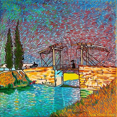 Frei nach Van Gogh- Die Brücke von Langlois in Arles, 40 x 40 cm,  Acryl auf Leinwand (Kkeul Malerei)----------- 고흐의 풍경화/ 아를르 의 장로와 다리 , 40 x 40 cm, 캔버스에 아크릴(끌 말러라이)