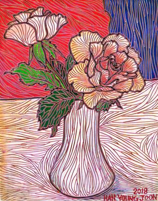 2 Rosen in Vase, 24 x 30 cm,  Acryl auf Holz Malplatte (Kkeul Malerei)----------- 꽃병에 장미 2 송이, 24 x 30 cm, 나무판넬에 아크릴(끌 말러라이)
