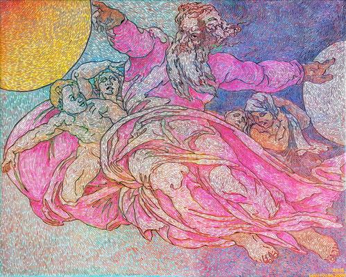 Frei nach Michelangelos Erschaffung der Sonne und des Mondes, 100 x 80 cm,  Acryl auf Leinwand (Kkeul Malerei)----------- 미켈란젤로의 태양과 달의 창조중에서, 100 x 80 cm, 캔버스에 아크릴(끌 말러라이)