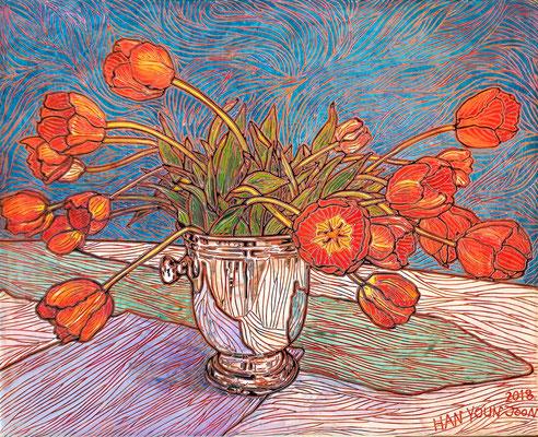 Tulpen im Sektkühler, 50 x 40 cm,  Acryl auf Leinwand (Kkeul Malerei)----------- 샴페인 쿨러에  튤립, 50 x 40 cm, 캔버스에 아크릴(끌 말러라이)