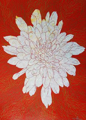 Chrysantheme, 100 x 140 cm,  Acryl auf Leinwand (Kkeul Malerei)-------국화꽃,  100 x 140 cm, 캔버스에 아크릴(끌 말러라이)
