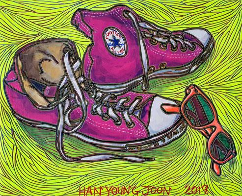 Converse Schuhe mit Sonnenbrille, 30 x 24 cm, Acryl auf Holz Malplatte (Kkeul Malerei)---------------------- 컨버스 운동화와 썬글래스, 30 x 24 cm, 나무판넬에 아크릴(끌 말러라이)