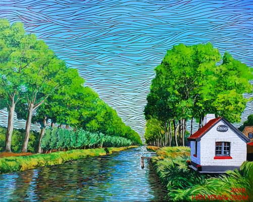 Damme in Belgien, 50 x 40 cm, Acryl auf Leinwand (Kkeul Malerei)---------------------- 벨기에 담, 50 x 40 cm, 캔버스에 아크릴(끌 말러라이)