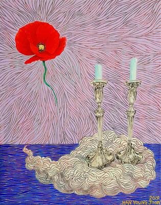 Ohne Titel, 40 x 50 cm, Acryl auf Leinwand (Kkeul Malerei)---------------------- 무제, 40 x 50 cm, 캔버스에 아크릴(끌 말러라이)
