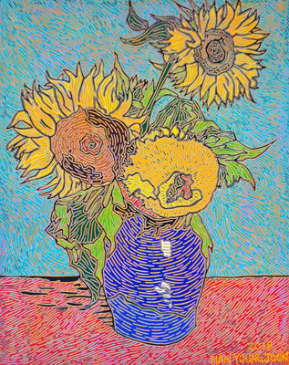 Frei nach Van Gogh, 3 Sonnenblumen in Vase, 40 x 50 cm,  Acryl auf Leinwand (Kkeul Malerei)----------- 반고흐의 3 송이 해바라기, 40 x 50 cm, 캔버스에 아크릴(끌 말러라이)