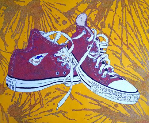 Konverse Schuhe, 120 x 100 cm,  Acryl auf Leinwand (Kkeul Malerei)------- 컨버스 운동화, 120 x 100 cm, 캔버스에 아크릴(끌 말러라이)