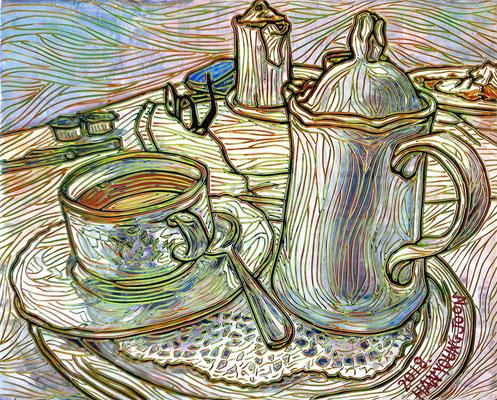Kaffeezeit, 30 x 24 cm,  Acryl auf Holz Malplatte (Kkeul Malerei)----------- 커피타임, 30 x 24 cm, 나무판넬에 아크릴(끌 말러라이)