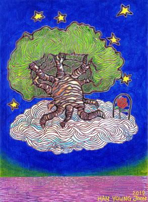 Affenbrotbaum mit Rose, 30 x 40 cm, Acryl auf Leinwand (Kkeul Malerei)---------------------- 바오밥나무와 장미, 30 x 40 cm, 캔버스에 아크릴(끌 말러라이)