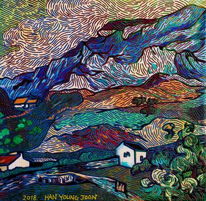 Frei nach Van Gogh- Landschaft von Sant Remy, 40 x 40 cm,  Acryl auf Leinwand (Kkeul Malerei)----------- 고흐의 풍경화/ 쌍 레미, 40 x 40 cm, 캔버스에 아크릴(끌 말러라이)