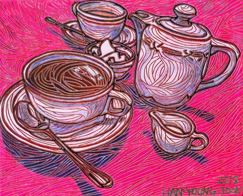 Kaffeezeit, 30 x 24 cm, Acryl auf Holz Malplatte (Kkeul Malerei)----------------------커피타임, 30 x 24 cm, 나무판넬에 아크릴(끌 말러라이)