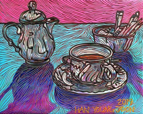 Kaffeezeit, 30 x 24 cm, Acryl auf Holz Malplatte (Kkeul Malerei)---------------------- 커피타임, 30 x 24 cm, 나무판넬에 아크릴(끌 말러라이)