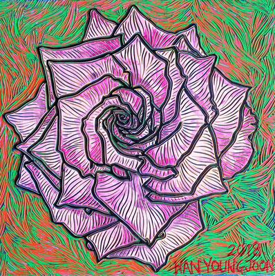 Rosa Rose, 20 x 20 cm,  Acryl auf Holz Malplatte (Kkeul Malerei)-----------분홍 장미 꽃, 20 x 20 cm, 나무판넬에 아크릴(끌 말러라이)