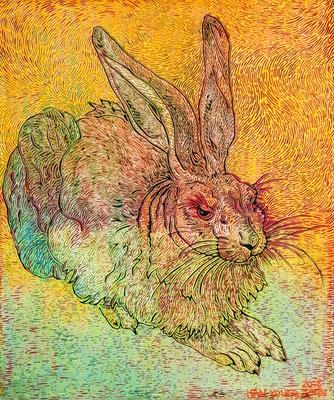 Frei nach Dürer- Hase I, 50 x 60 cm,  Acryl auf Leinwand (Kkeul Malerei)-----------뒤러의 토끼 I, 50 x 60 cm, 캔버스에 아크릴(끌 말러라이)