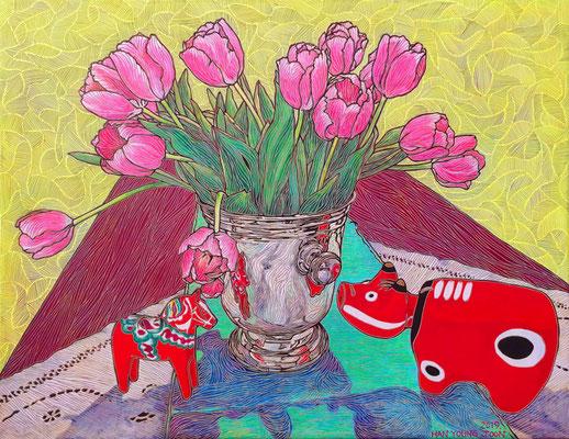 Tulpen im Sektkühler, Dala Horse und Akabeko, 90 x 70 cm, Acryl auf Leinwand (Kkeul Malerei)----------------------샴페인 쿨러에 튤립,달라호스와 아카베코,  90 x 70 cm, 캔버스에 아크릴(끌 말러라이)