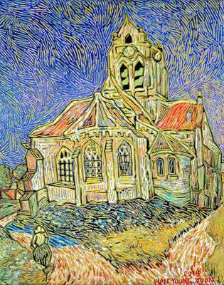 Frei nach Van Gogh, Die Kirche von Auvers, 40 x 50 cm,  Acryl auf Leinwand (Kkeul Malerei)----------- 반고흐의 오베르의 교회, 40 x 50 cm, 캔버스에 아크릴(끌 말러라이)