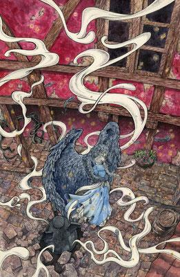"""Иллюстрация по мотивам фильма Хаяо Миядзаки """"Ходячий замок Хаула"""" или """"Взрывная волна"""""""