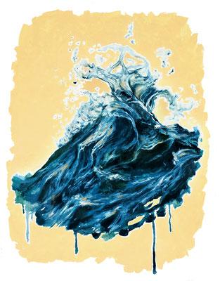 'Dancing wave' oils on paper (2018)