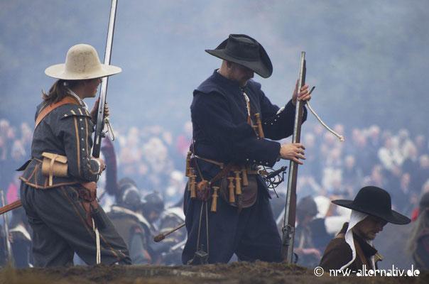 Szene während der Schlacht